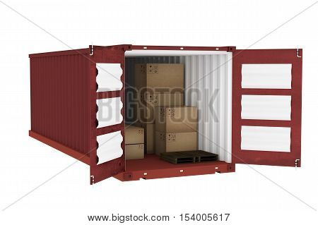 3D rendering : illustration of red open container with cardboard boxes inside the container.business export import concept.white isolate background