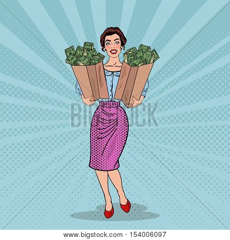 Pop Art Happy Rich Woman Holding Bags with Money. Vector illustration