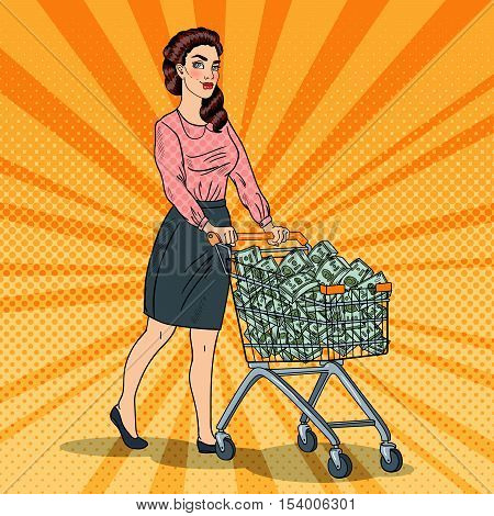 Pop Art Happy Rich Woman with Shopping Cart Full of Money. Vector illustration