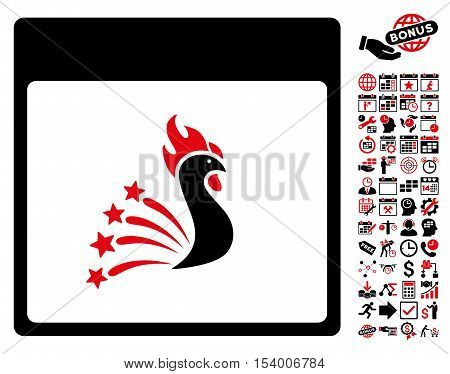 Festive Rooster Calendar Page pictograph with bonus calendar and time management design elements. Glyph illustration style is flat iconic symbols, intensive red and black, white background.