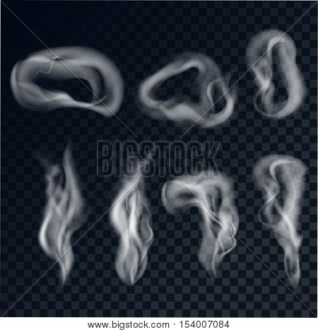 A set of gray smoke on a transparent background. Cigarette smoke rings realistic style. Vector illustration.