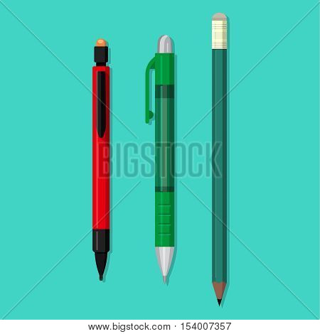 Vector set of office objects. Pencil plastic wooden ball-point pen. The writing objects with an eraser in flat style. School and office supplies.