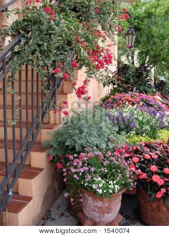 Flower-Draped Stairs