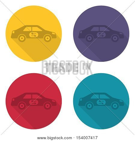 Trade in icons. Concept of an exchange of the car with surcharge