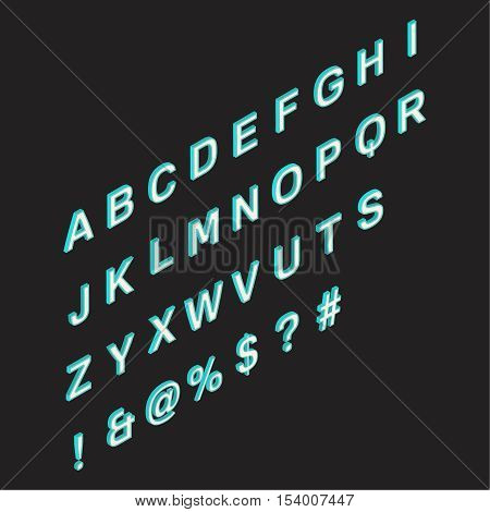 Isometric alphabet.3d a font on dark background. Symbols and signs. A vector illustration in three-dimensional style.