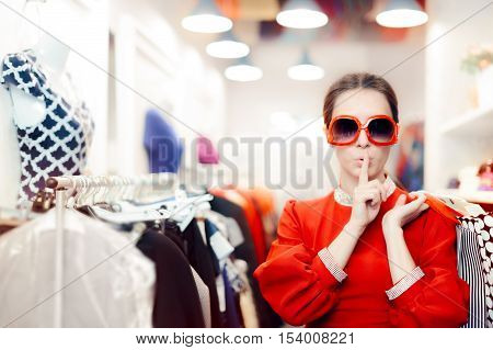 Shopping with Big Shades Woman Keeping a Secret