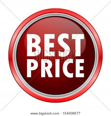 Best Price round metallic red button, vector icon