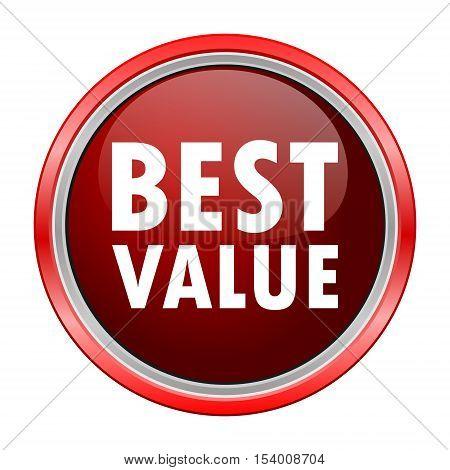 Best Value round metallic red button, vector icon