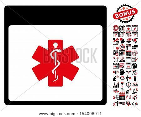 Medical Life Star Calendar Page pictograph with bonus calendar and time management graphic icons. Glyph illustration style is flat iconic symbols, intensive red and black, white background.