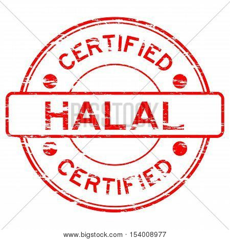 Red grunge HALAL round rubber stamp on white background