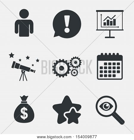 Business icons. Human silhouette and presentation board with charts signs. Dollar money bag and gear symbols. Attention, investigate and stars icons. Telescope and calendar signs. Vector