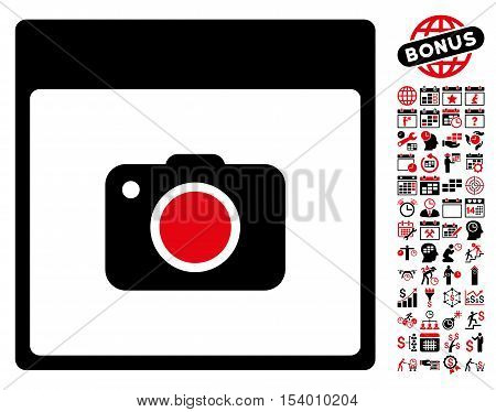 Photo Camera Calendar Page pictograph with bonus calendar and time management images. Glyph illustration style is flat iconic symbols, intensive red and black, white background.