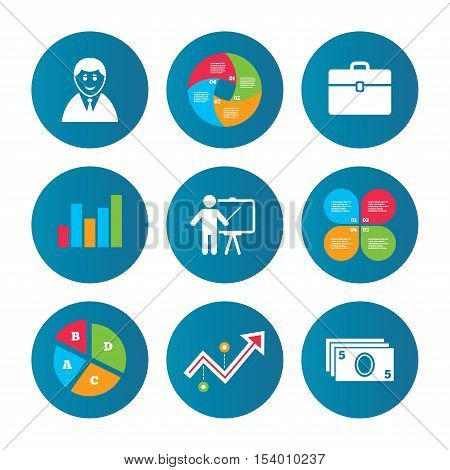 Business pie chart. Growth curve. Presentation buttons. Businessman icons. Human silhouette and cash money signs. Case and presentation symbols. Data analysis. Vector