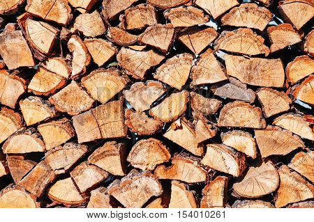 Woodpile from dry oak logs for us as background.