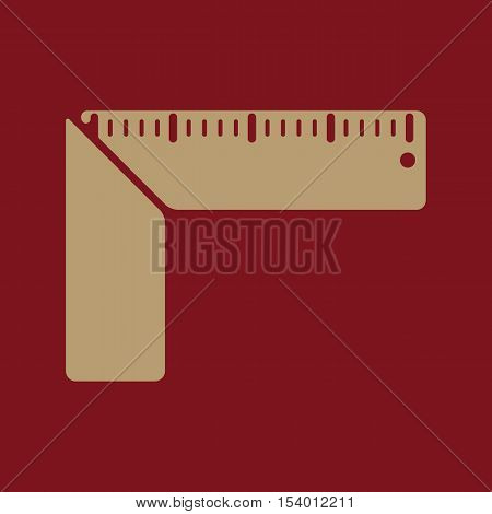 The setsquare icon. Building square symbol. Flat Vector illustration