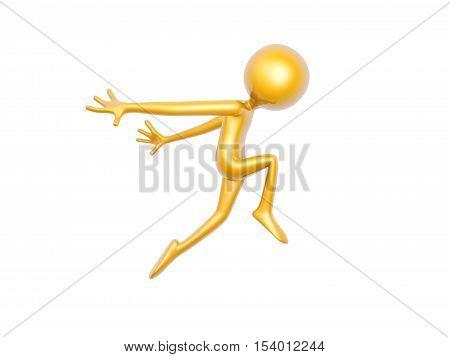 golden guy dance jump isolated on white background 3d illustration