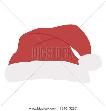 Icon colored red Santa's hat with pompom on a white background. template for decoration or design. Vector illustration