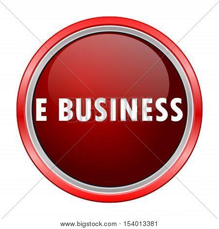 E business round metallic red button, vector icon
