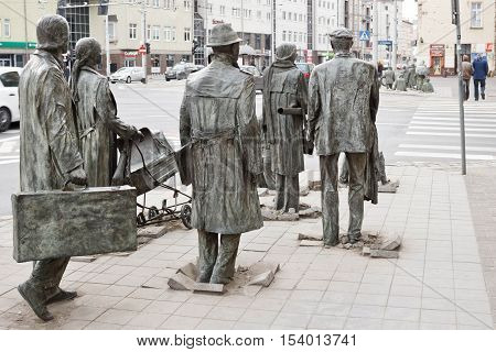 March 1 2015 - Wroclaw Poland: The Anonymous Pedestrians - memorial to the introduction of martial law in Poland.