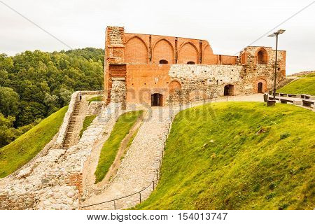 Upper castle historic red brick building on Gediminas hill in Vilnius Lithuania