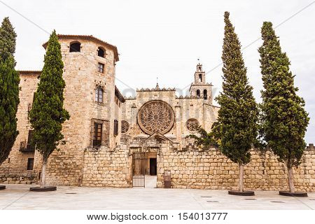 Benedictine monastery build in Romanesque style in Sant Cugat Spain