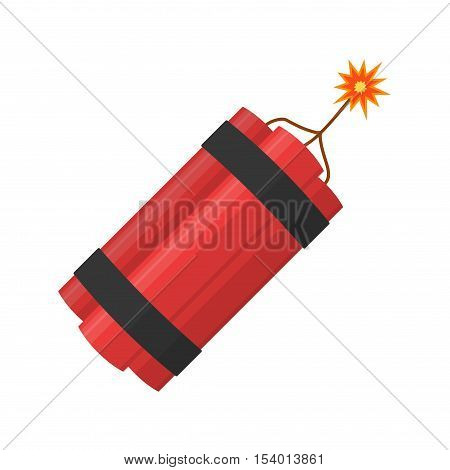 Dynamite bomb explosion with burning wick detonate isolated on white background.
