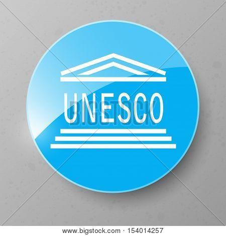 UNESCO Flag Button. Vector illustration Eps 10