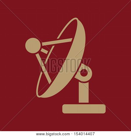 The satellite antenna icon. Communicate and broadcast, telecommunications symbol. Flat Vector illustration