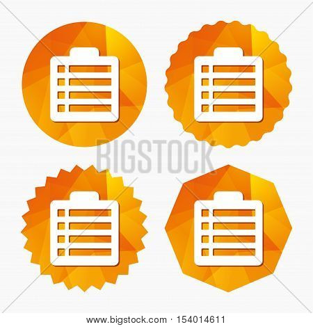 Checklist sign icon. Control list symbol. Survey poll or questionnaire form. Triangular low poly buttons with flat icon. Vector
