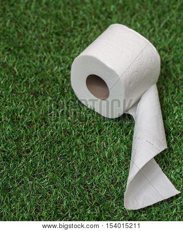 White Toilet Paper On Green Grass