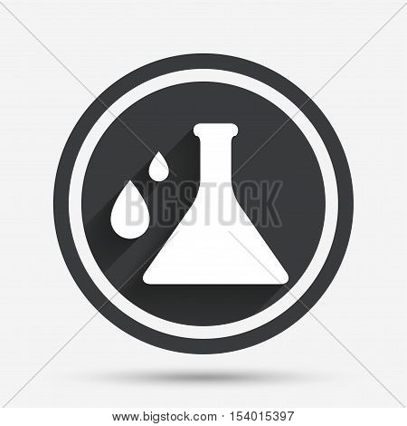 Chemistry sign icon. Bulb symbol with drops. Lab icon. Circle flat button with shadow and border. Vector