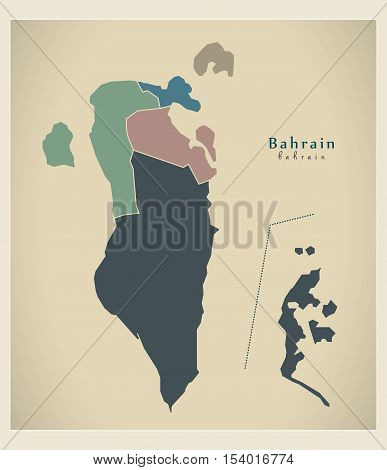 Modern Map - Bahrain with governorates colored political BH vector