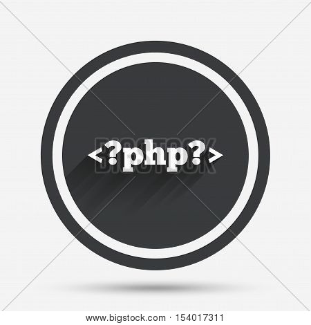 PHP sign icon. Programming language symbol. Circle flat button with shadow and border. Vector