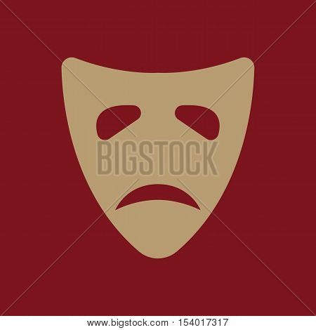 The sad mask icon. Tragedy and theater symbol. Flat Vector illustration