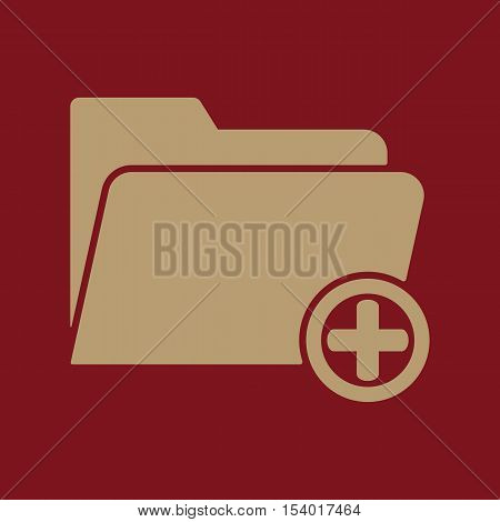 The add to folder icon. Data and directory, archive, storage symbol. Flat Vector illustration