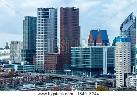 The Hague the Netherlands - October 29 2016: Tall buildings of The Hague the Netherlands
