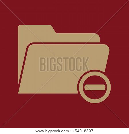 The remove from folder icon. Data and directory, archive, storage symbol. Flat Vector illustration