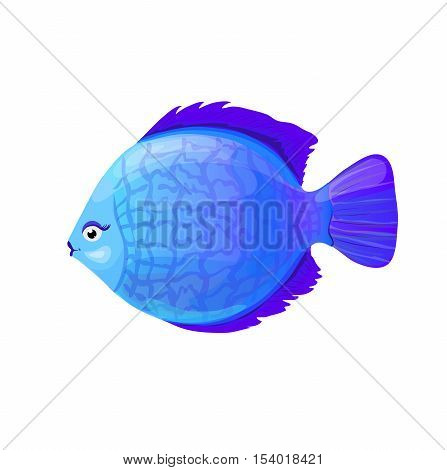 blue round coral fish in cartoon style vector illustration isolated on white