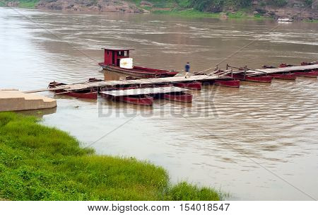 China remote rural areas old pontoon bridge.