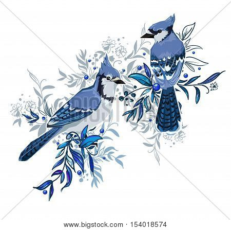 Blue Jay bird Vector Illustration, birds vector. Hand Drawn Vector Illustration of birds. A beautiful illustration of a winter bird. winter illustration. Two birds sitting on branches illustration