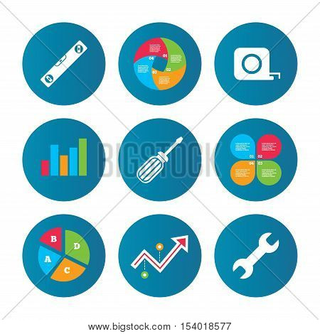 Business pie chart. Growth curve. Presentation buttons. Screwdriver and wrench key tool icons. Bubble level and tape measure roulette sign symbols. Data analysis. Vector