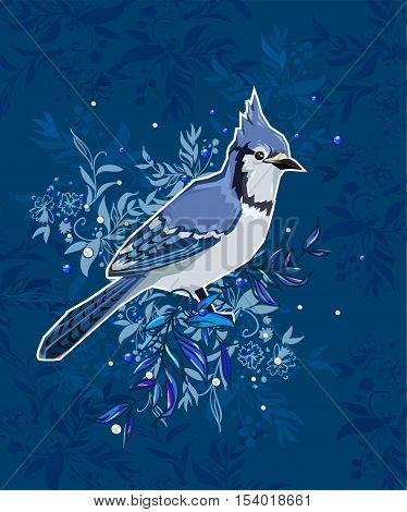 Blue Jay bird Vector Illustration, bird vector. Hand Drawn Vector Illustration of bird. A beautiful illustration of a winter bird. winter illustration.