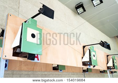 Target of bull's-eye in indoor shooting of modern sports.