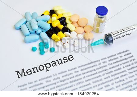 Drugs for menopause treatment, blurred text, medical concept
