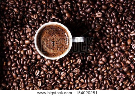 A cup of Turkish coffee on coffee beans background