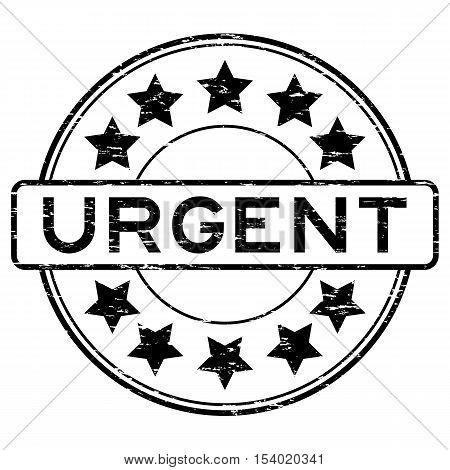 Grunge black urgent round rubber seal stamp on white background