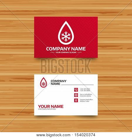Business card template. Defrosting sign icon. From ice to water symbol. Phone, globe and pointer icons. Visiting card design. Vector