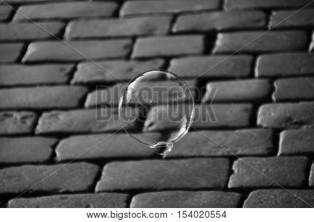 Soap bubble and Cobblestone paving background monochromatic