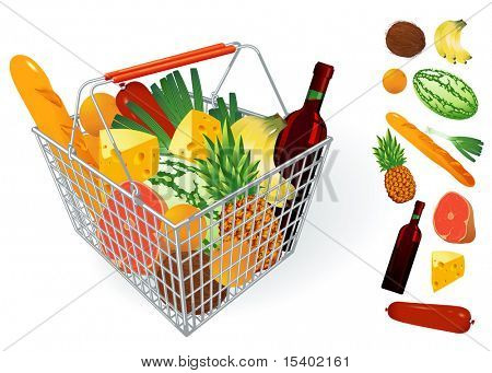 Shopping basket. Vector. poster