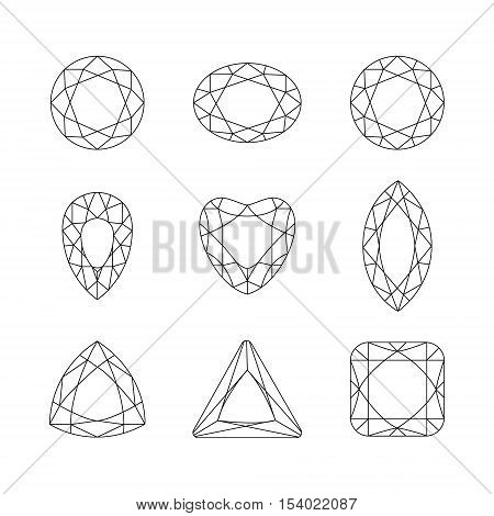Set of isolated gemstones.Vector set of diamond thin line design elements. Precious gem stones set of forms. Gemstone faceting patterns on a white background.